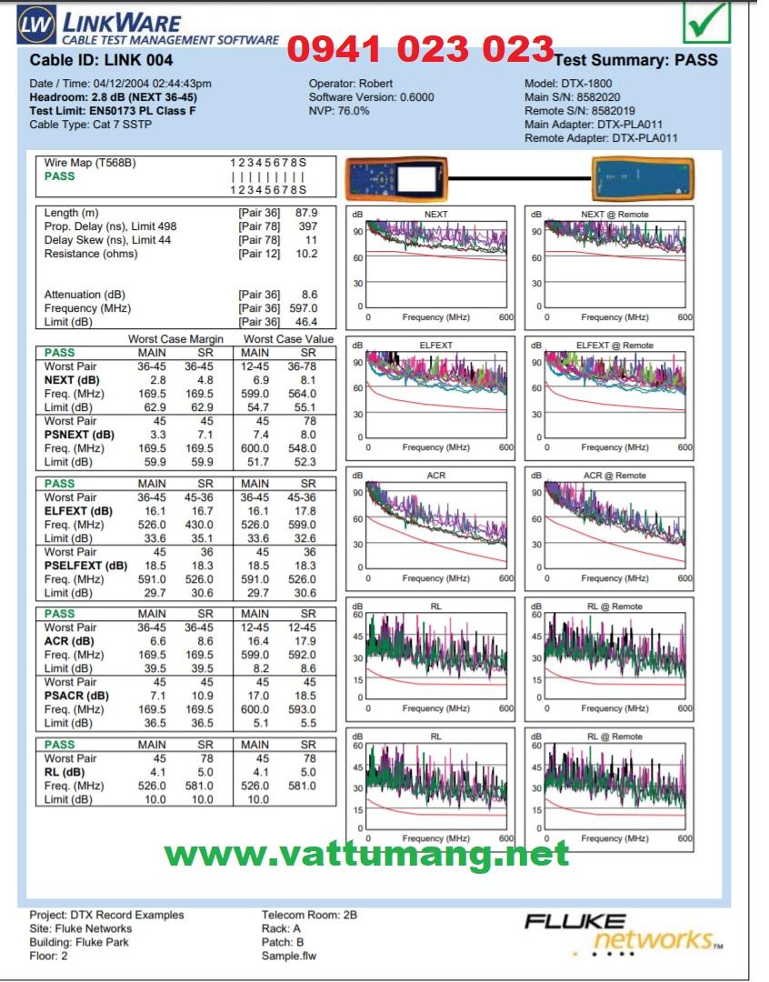 Cho thuê máy test băng thông FLUKE DTX-1800, xuất report báo cáo