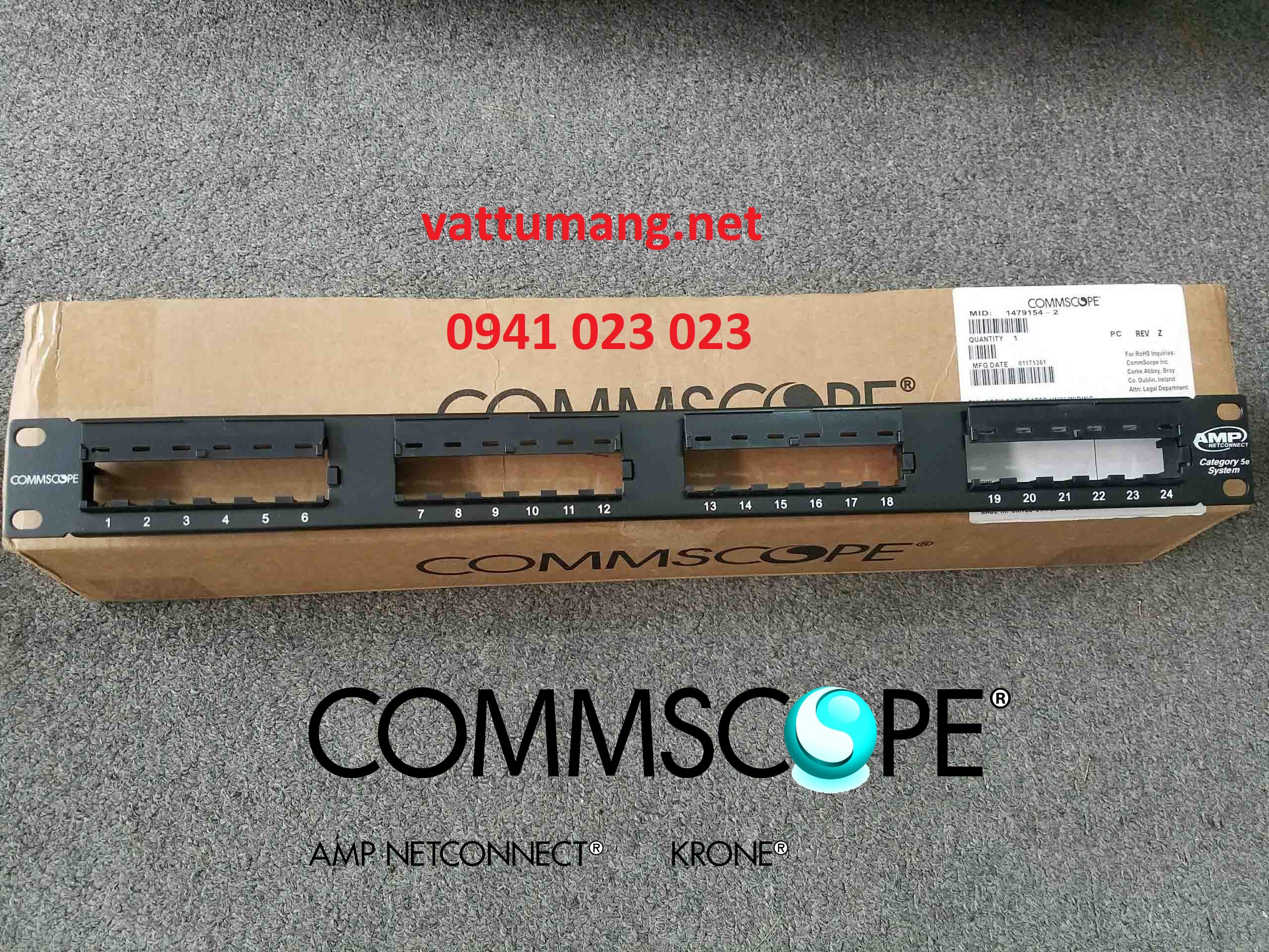 Patch panel AMP cat6 48 port (1375015-2) chính hãng Commscope