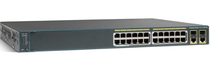 Switch Cisco Catalyst 2960 (WS-C2960+24LC-S) 24port 10/100Mbps, 2 1000BASE-T or SFP uplinks, LAN Lite image