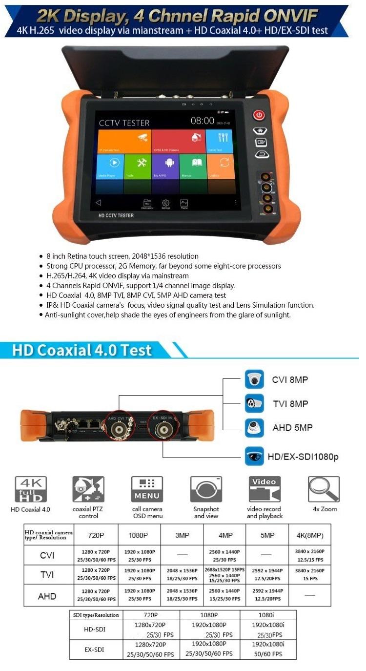 Máy test camera cảm ứng 8″ IP/AHD/TVI/CVI/HD-SDI 8.0MP HDMI in & output