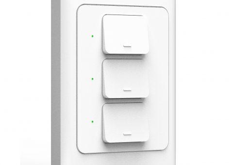 Công tắc 3 cơ wifi điều khiển 3 bóng đèn qua smartphone HCN white